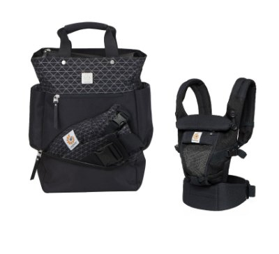 COMBO ERGOBABY: Bolsa Maternidade The Carry On Geo/Black + Canguru Adapt Onyx Black