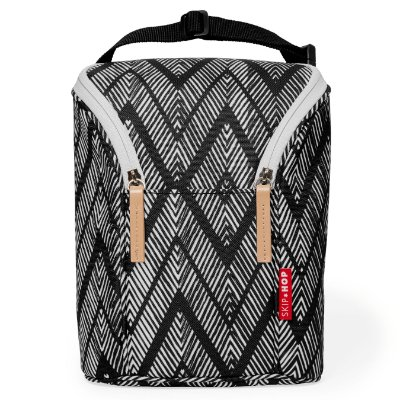 Bolsa Térmica Double Bottle Skip Hop - Linha On-The-Go - Espaço para duas mamadeiras - Cor Zig Zag Zebra