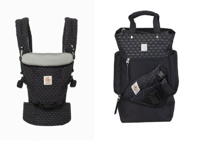 COMBO ERGOBABY: Canguru Adapt Geo Black + Bolsa Maternidade The Carry On Geo Black