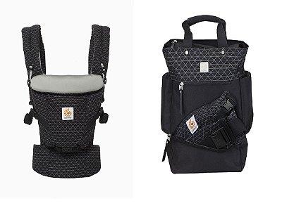 COMBO ERGOBABY: Canguru Adapt Geo Black + Bolsa Maternidade The Carry On Geo Black