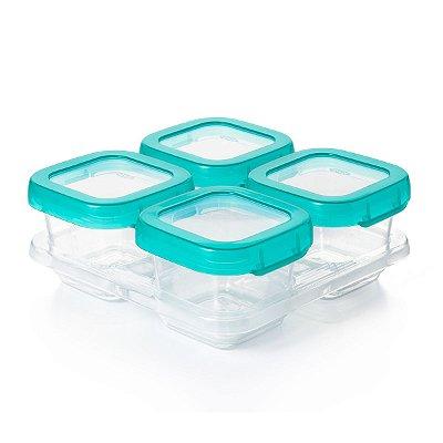 Conjunto de potes em plastico para armazenar com tampa e bandeja Oxotot (4x180ml)