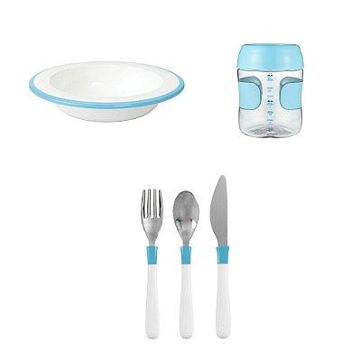 COMBO OXO: Comendo como os Adultos - Prato Fundo + Talheres + Copo Treinamento - Azul