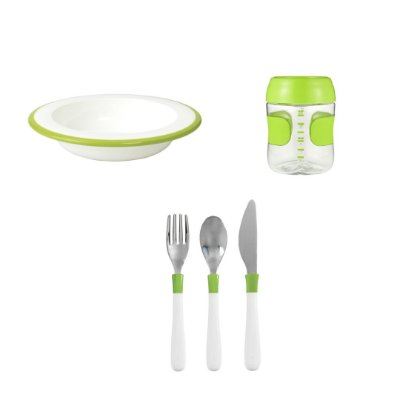 COMBO OXO: Comendo como os Adultos - Prato Fundo + Talheres + Copo Treinamento - Verde