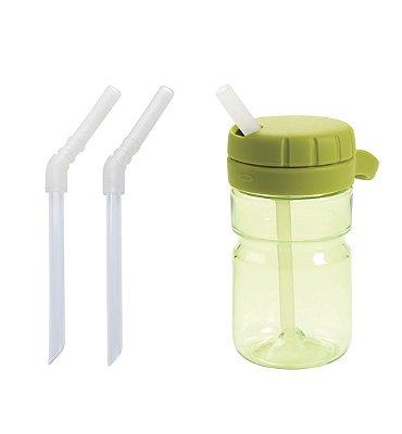 Garrafinha com Canudo, tampa giratória abre e fecha 350 ml Oxotot + Conjunto Canudos para Substituição (340ml)
