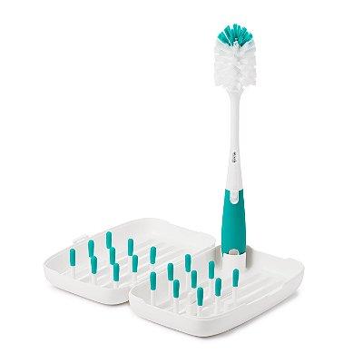 Kit de limpeza com escova e escorredor OXOTot - Verde Azulado