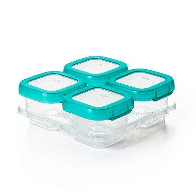 Bandeja com 4 potes de armazenamento com tampa Oxotot - Verde Azulado(4 x118ml)