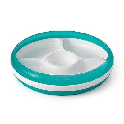 Prato com Divisórias com anel removível OXOTot - Verde Azulado