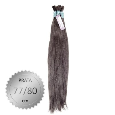 Cabelo Humano Liso indiano Prata, castanho médio, virgem e pontas cheias. Com 50 Gramas. 77/80cm