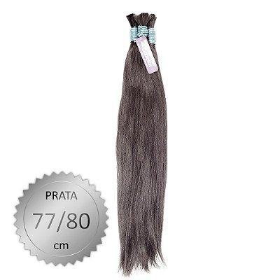 Cabelo Humano Liso indiano Prata, castanho médio, virgem e pontas cheias. Com 100 Gramas. 77/80cm