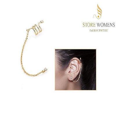 ROMMANEL 525517 BRINCO EAR CUFF CORRENTE COM ZIRCÔNIAS