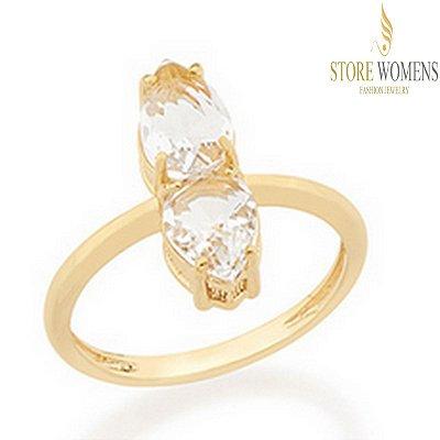 ANEL ROMMANEL SKINNY RING COMPOSTO POR 2 CRISTAIS GOTA 512352