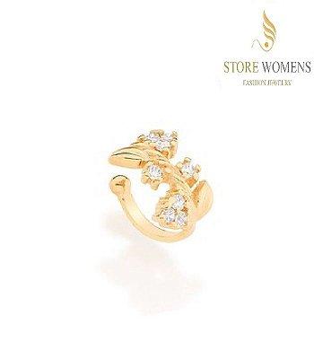 BRINCOS ROMMANEL EAR CUFF PIERCING FLORES E FOLHA 525853 121621