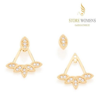 BRINCOS ROMMANEL EAR JACKET TRIANGULAR ZIRCÔNIAS 526005 121690