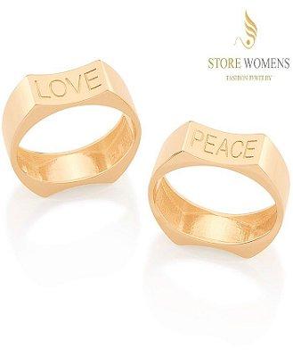 ANEL ROMMANEL ARO LISO CURVADO PEACE (PAZ) E LOVE (AMOR) 512646 110791