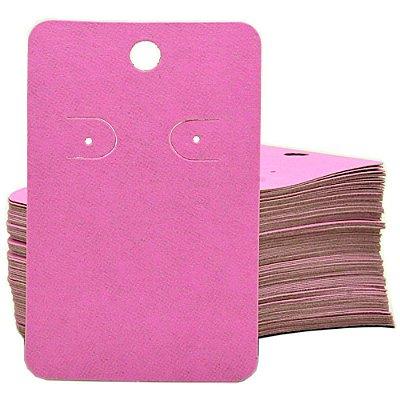 Cartela Para 1 Par De Brincos  - 4,5 x 7 Cm - C41B Rosa Fosca