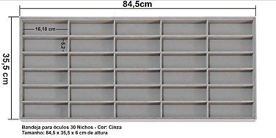 Bandeja grande para óculos sob medida 84,5 x 35,5 x 6 cm de altura - CINZA