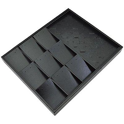 Bandeja Grande Mista 9 Espaços + Anel 36,5 x 29,5 x 3,3 cm - Corino Preto sem capa
