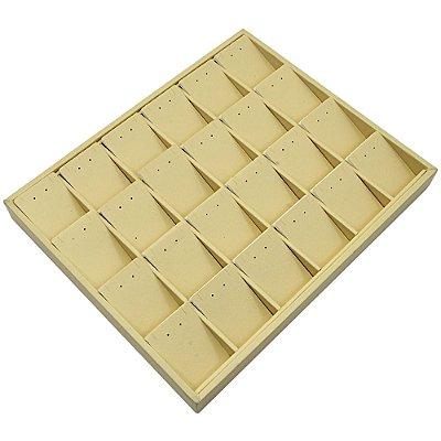 Bandeja Grande Brinco Conjunto 24 Espaços com Cartelas 36,5 x 29,5 x 3,3 cm -Sem capa Corino Marfim