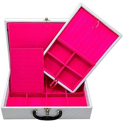 Maleta Dupla Grande Corino Dijon Branco protetor de correntes em veludo Pink