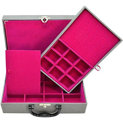 Maleta de Joias Dupla Media 29,5 x 19,5 x 9,5 cm - Com Dobradiça Milão Cinza com Pink