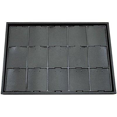 Bandeja Grande Brinco Conjunto 15 Espaços com Cartelas 37 x 25,5 x 2 cm -Vacuum Formiing - Sem capa Corino Preto