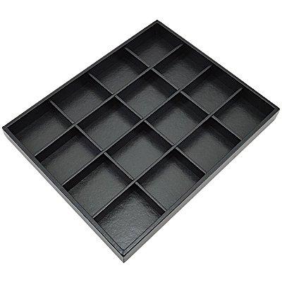 Bandeja Grande 16 Quadriculados 36,5 x 29,5 x 3,3 cm -  Joias Corino Preto - Sem Capa