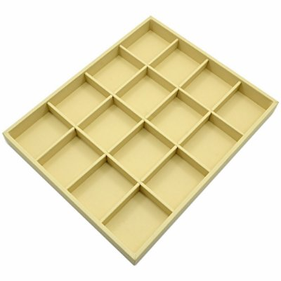 Bandeja Grande 16 Quadriculados 36,5 x 29,5 x 3,3 cm - Corino Marfim Sem Capa