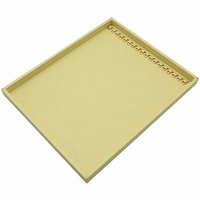 Bandeja Grande Correntes com Argolas 36,5 x 29,5 x 2,3 cm - Sem Capa Corino Marfim