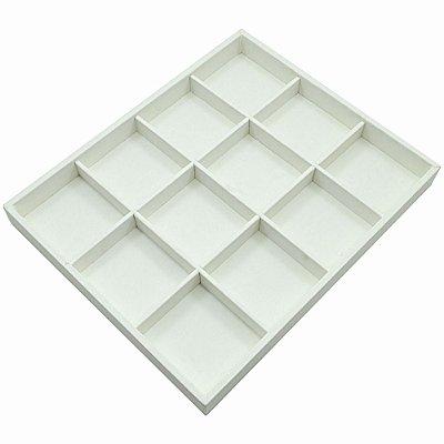 Bandeja Grande 12 Quadriculados 36,5 x 29,5 x 3,3 cm - Joias Corino Branco - Sem Capa