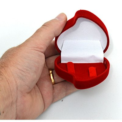 Caixa Caixinha De Veludo Para Alianças - Estojo Coração