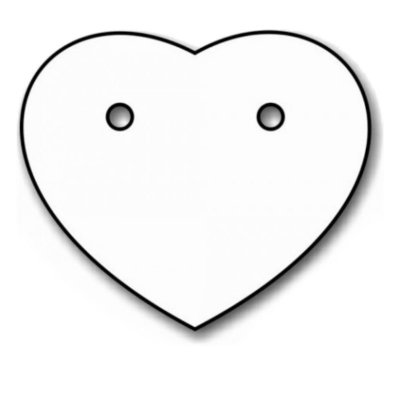 Etiqueta Coração para Brinco 1,8 x 2,1 cm - E24 - 1000 Unidades