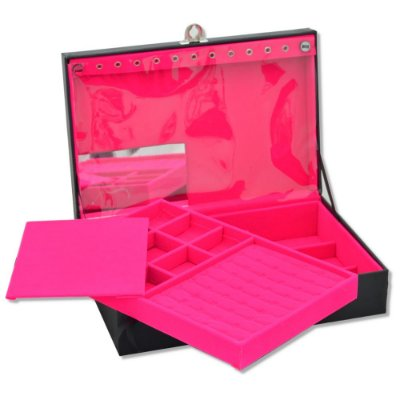 Maleta de Joias Dupla Grande 35 x 23,5 x 9,5 cm - Com Espelho Corino Liso Preto e interior Pink