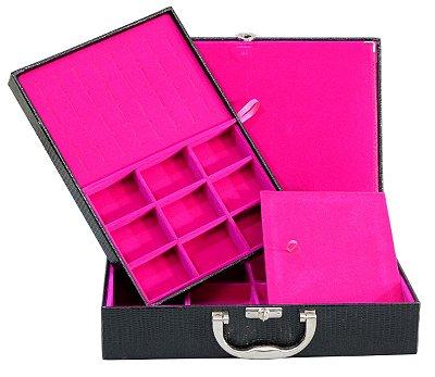 Maleta de Joias Dupla Grande Com Dobradiça Corino Croco Preto com Pink