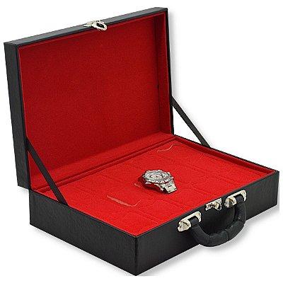 Maleta para Relógios 15 Nichos Sem Visor Corino Liso Preto e Interior Aveludado Vermelho