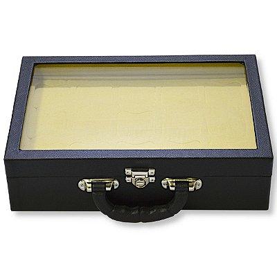 Maleta para Relógios 15 Nichos Com Visor Corino Liso Preto e Interior Aveludado Bege