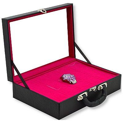 Maleta para Relógios 15 Nichos Com Visor Corino Liso Preto e Interior Aveludado Pink