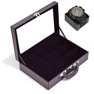 Maleta para Relógios 9 Nichos Óculos 3 Nichos Com visor e interior Aveludado Preto