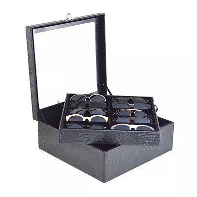 Estojo para 20 óculos com visor de vidro - Couro ecológico - Preto