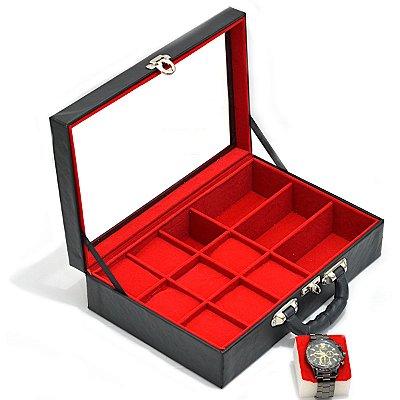 Maleta para Relógios 9 Nichos Óculos 3 Nichos Com visor e interior Aveludado Vermelho