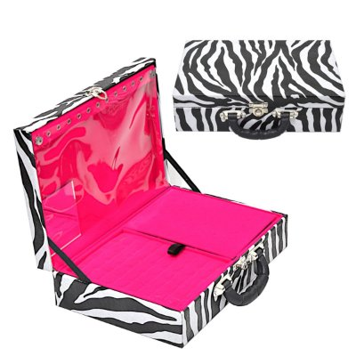 Maleta de Joias Dupla Grande Com Espelho Corino Zebra e interior Aveludado Pink