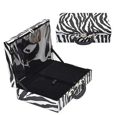 Maleta de Joias Dupla Grande Com Espelho Corino Zebra e interior Aveludado Preto