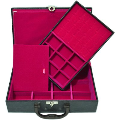 Maleta de Joias Dupla Media 29,5 x 19,5 x 9,5 cm -Com Dobradiça Corino Croco Preto com Pink