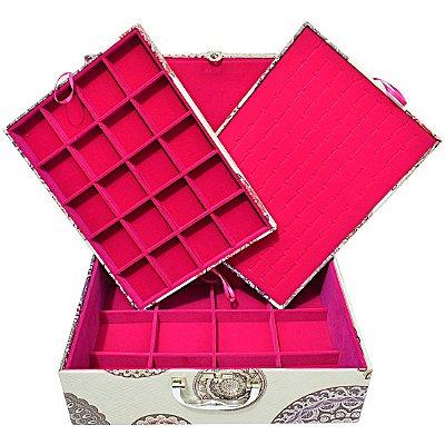 Maleta Porta Joias Extra Grande Tripla Com Tampa Magnética - Mandala Bege com Pink