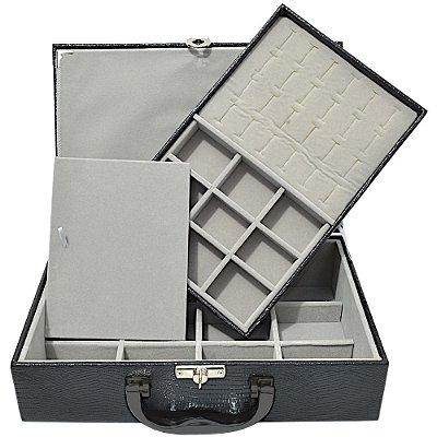 Maleta de Joias Dupla Media 29,5 x 19,5 x 9,5 cm - Com Dobradiça Corino Croco Preto com Cinza