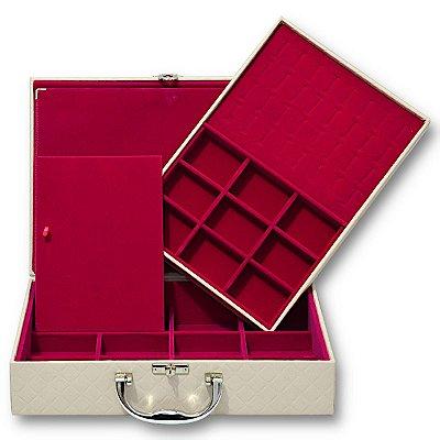 Maleta de Joias Dupla Grande Com Dobradiça Dijon Marfim com Pink