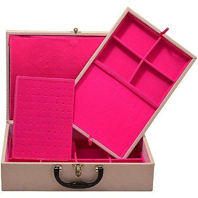 Maleta Dupla Grande Corino Dijon Rosa protetor de correntes em veludo Pink
