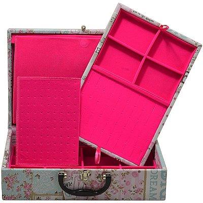 Maleta Dupla Grande Corino Happy Day protetor de correntes em veludo Pink