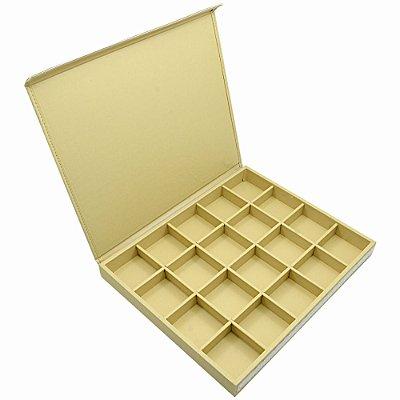 Bandeja Grande 20 Quadriculados 36,5 x 29,5 x 3,3 cm - Corino Marfim com Tampa