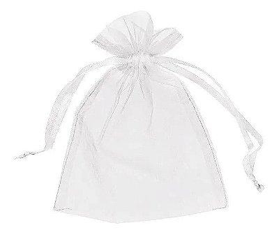 Saquinhos de Organza 10x15 cm Branco - 50 Unidades