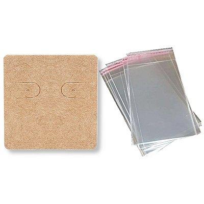 100 Cartelas Brincos 3,9 X 4,4 cm C60 + 100 Saquinhos Adesivos 5 x 5 cm